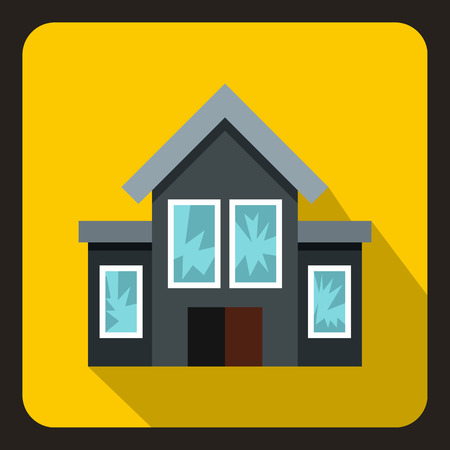 gunman: House with broken windows icon in flat style on a yellow background vector illustration