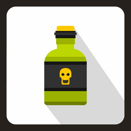 poison bottle: Poison bottle icon in flat style on a white background vector illustration Vectores