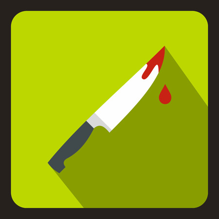 Steel knife covered with blood icon in flat style on a lime background vector illustration Иллюстрация