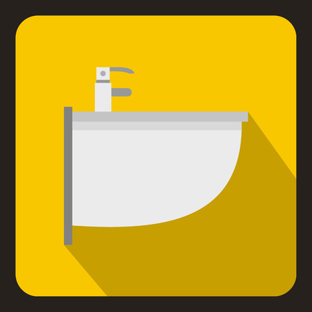 bidet: Bidet icon in flat style on a yellow background vector illustration