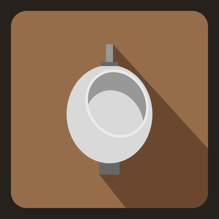 chamber pot: Urinal or chamber pot for men icon in flat style on a coffee background vector illustration
