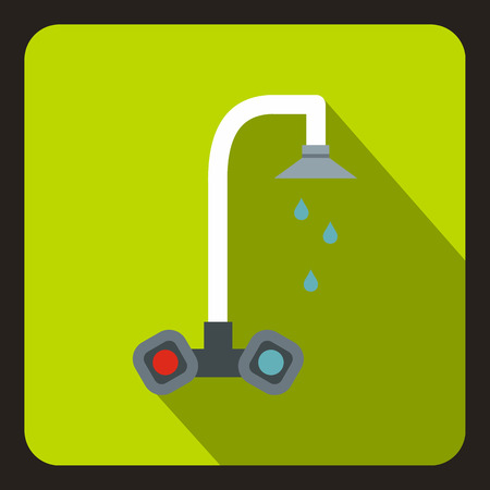 Dripping tap icon in flat style on a lime background vector illustration Illustration