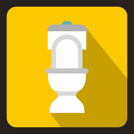 septic: White toilet bowl icon in flat style on a yellow background vector illustration Illustration