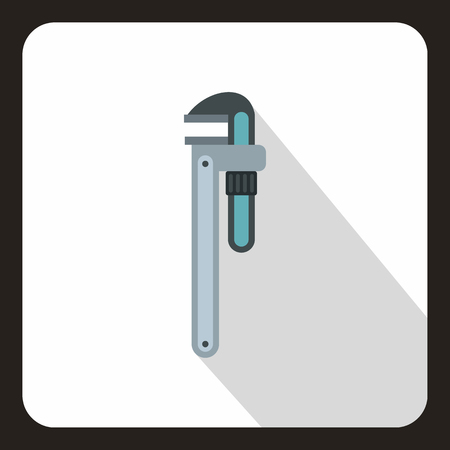 pipe wrench: Pipe or monkey wrench icon in flat style on a white background vector illustration Illustration