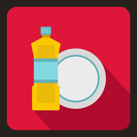 Bottle of dish soap and clean dish icon in flat style on a crimson background vector illustration Illustration