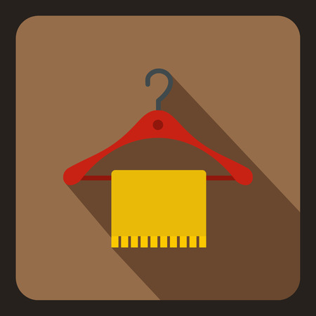 hang up: Blue scarf on coat hanger icon in flat style on a coffee background vector illustration