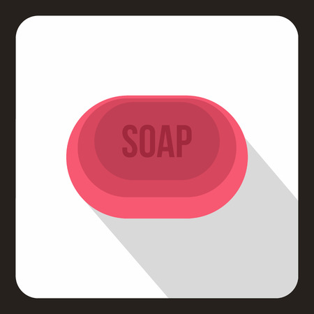 antibacterial soap: Pink soap icon in flat style on a white background vector illustration
