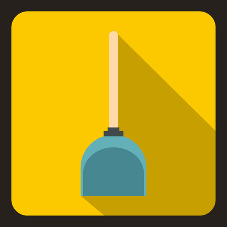 Scoop for cleaning icon in flat style on a yellow background vector illustration