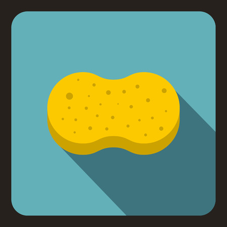 absorb: Sponge foam icon in flat style on a baby blue background vector illustration