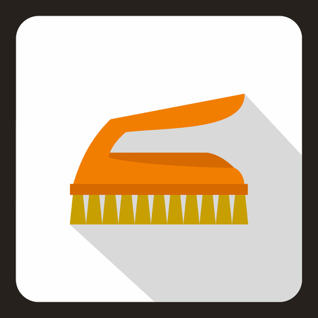 Orange brush for cleaning icon in flat style on a white background vector illustration