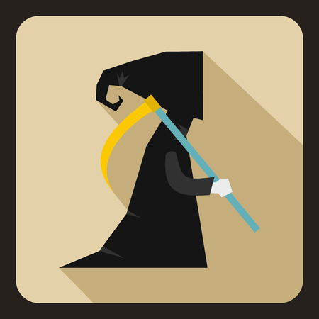 harbinger: Grim reaper icon in flat style on a beige background vector illustration Illustration