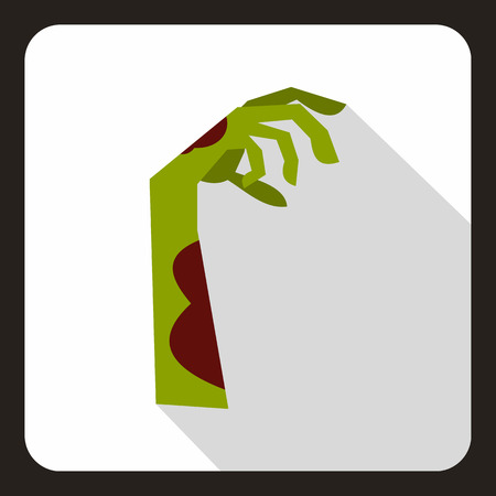 Zombie green hand icon in flat style on a white background vector illustration Illustration