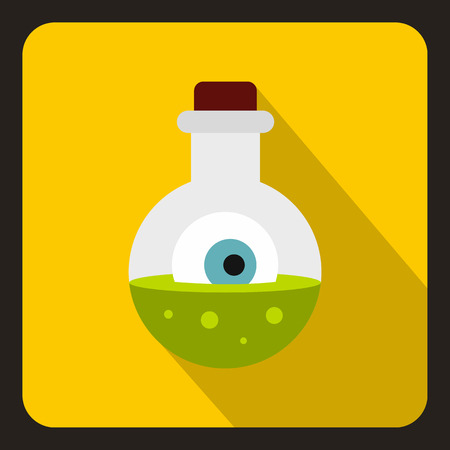 veneno frasco: Bottle with potion and eye icon in flat style on a yellow background vector illustration