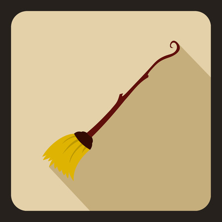 whisk broom: Witches broom icon in flat style on a beige background vector illustration