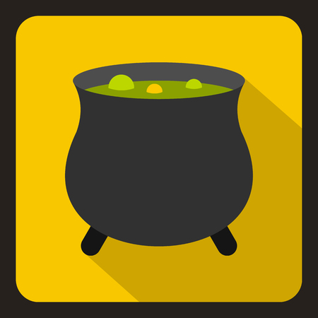 broth: Witch cauldron with green potion icon in flat style on a yellow background vector illustration