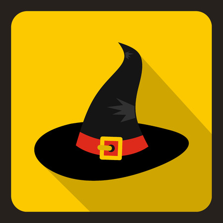 Black witch icon in flat style on a yellow background vector illustration