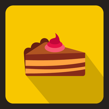 piece of cake: Piece of cake with cream icon in flat style with long shadow. Food symbol vector illustration