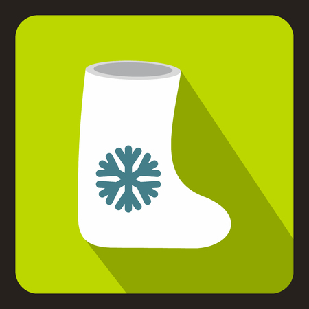 felt: Felt boots icon in flat style with long shadow. Shoes symbol vector illustration