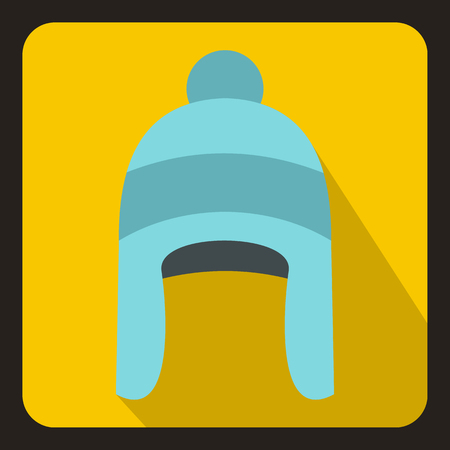 Winter hat icon in flat style with long shadow. Accessory symbol vector illustration Illustration