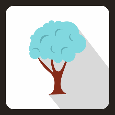 Tree in snow icon in flat style with long shadow. Flora symbol vector illustration