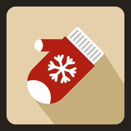 ski wear: Red winter gloves icon in flat style with long shadow. Accessory symbol vector illustration