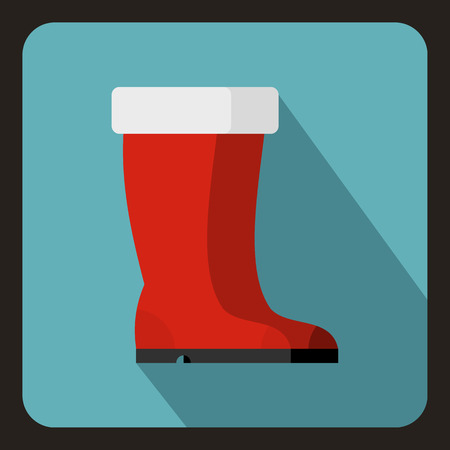 red boots: Red rubber boots icon in flat style with long shadow. Wear symbol vector illustration