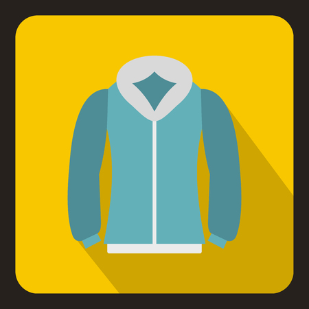Blue mens winter jacket icon in flat style with long shadow. Clothing symbol vector illustration Illustration