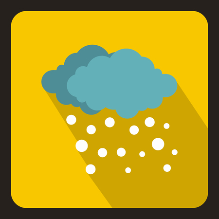 sleet: Blue clouds and white snow icon in flat style with long shadow. Weather symbol vector illustration
