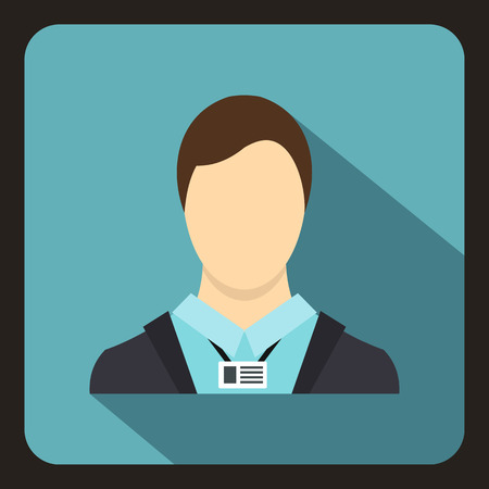 shadow people: Avatar man icon in flat style with long shadow. People symbol vector illustration Illustration