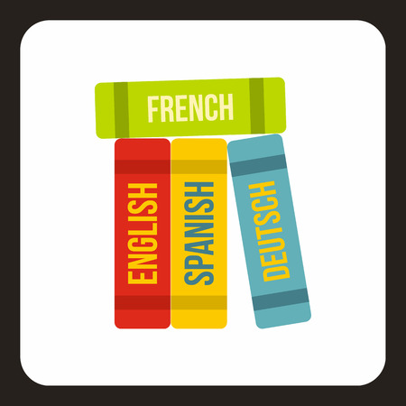 translate: Books of foreign languages icon in flat style with long shadow. Translate symbol vector illustration
