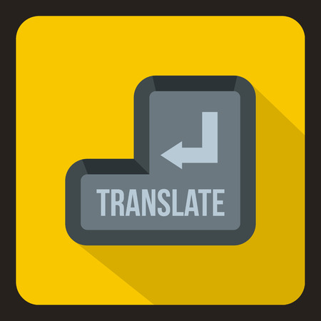decode: Translate button icon in flat style with long shadow. Translation symbol vector illustration