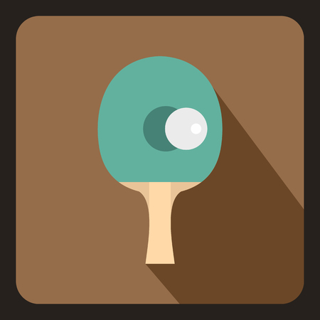 indoor court: Table tennis racket with ball icon in flat style with long shadow. Sport symbol vector illustration Illustration