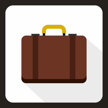 luggage carrier: Suitcase icon in flat style with long shadow. Luggage symbol vector illustration Illustration