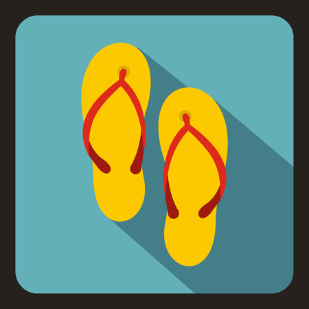 Slates icon in flat style with long shadow. Summer shoes symbol vector illustration