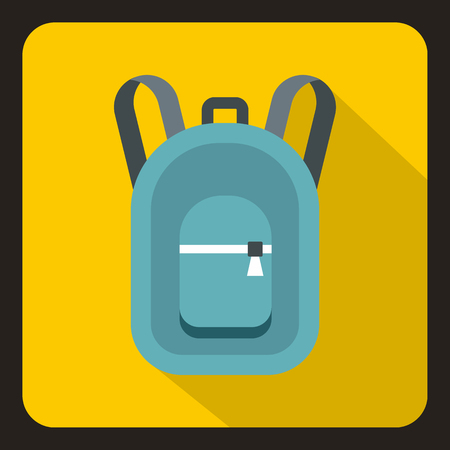 Backpack icon in flat style with long shadow. Bag symbol vector illustration