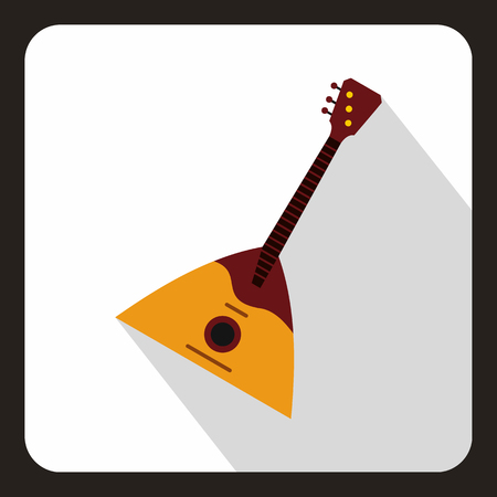triangle musical instrument: Guitar triangle icon in flat style with long shadow. Musical instrument symbol vector illustration Illustration