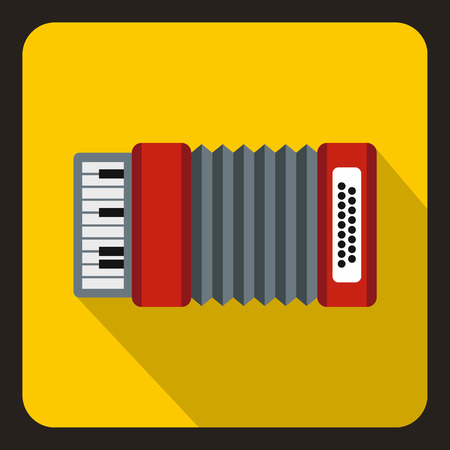 concertina: Accordion icon in flat style with long shadow. Musical instrument symbol vector illustration