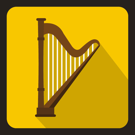 Harp icon in flat style with long shadow. Musical instrument symbol vector illustration Illustration
