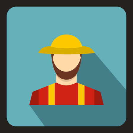 agrarian: Farmer icon in flat style with long shadow. People symbol vector illustration