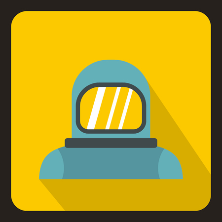 Cosmonaut icon in flat style with long shadow. Space symbol vector illustration