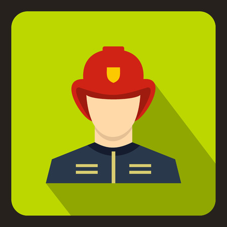 shadow people: Fireman icon in flat style with long shadow. People symbol vector illustration