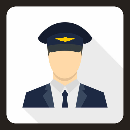 shadow people: Pilot icon in flat style with long shadow. People symbol vector illustration