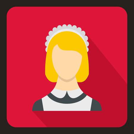 shadow people: Maid icon in flat style with long shadow. People symbol vector illustration Illustration