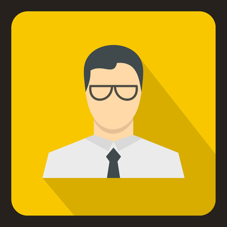 shadow people: Businessman icon in flat style with long shadow. People symbol vector illustration Illustration