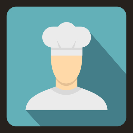 site preparation: Chef icon in flat style with long shadow. Job symbol vector illustration Illustration