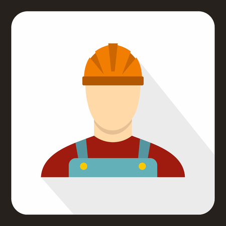 Builder icon in flat style with long shadow. Job symbol vector illustration Illustration