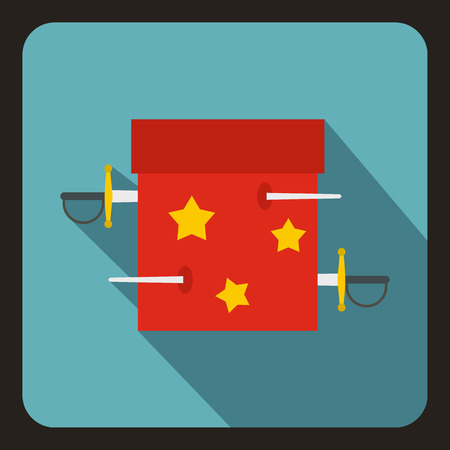 abracadabra: Box of tricks with daggers icon in flat style with long shadow. Tricks symbol vector illustration