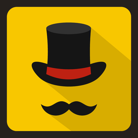 headgear: Cylinder and moustaches icon in flat style with long shadow. Headgear symbol vector illustration