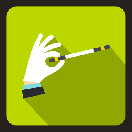 Hand with magic wand icon in flat style with long shadow. Tricks symbol vector illustration Illustration
