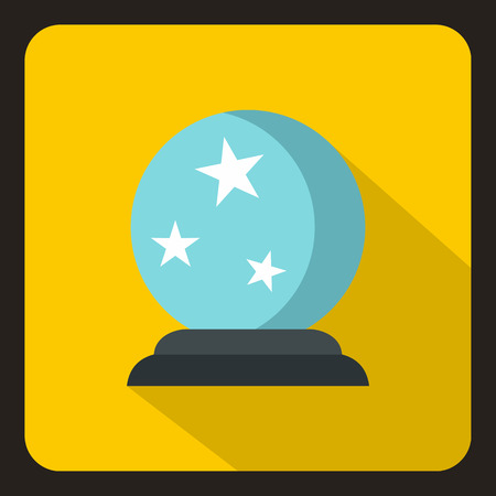 Crystal ball icon in flat style with long shadow. Tricks symbol vector illustration